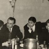 Im Partyraum mit Ingo Goritzki, Prof. Hennige, Peter Geisler und Hans Fischer