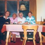 v.l.n.r.: Martin Christoph Redel, Monika Driessler-Quistorp, Johannes Driessler, Thomas Krämer (Pontresina 1988)