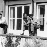 """um 1960: ?, Jürgen Gode, Wolfgang """"Ike"""" Voss, Andreas Bonifert"""